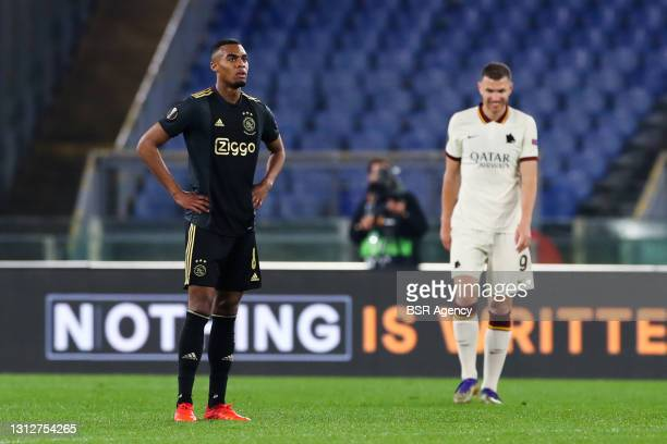 Ryan Gravenberch of Ajax disappointed after goal of Edin Dzeko of AS Roma during the UEFA Europa League Quarter Final: Leg Two match between AS Roma...