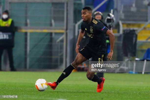 Ryan Gravenberch of Ajax during the UEFA Europa League Quarter Final: Leg Two match between AS Roma and Ajax at Stadio Olimpico on April 15, 2021 in...