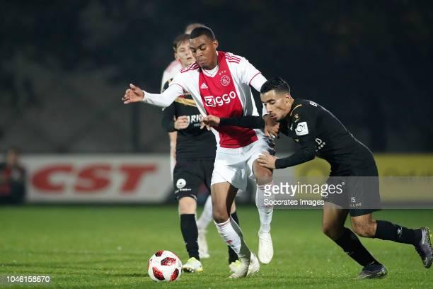 Ryan Gravenberch of Ajax U23 Anass Najah of Telstar during the Dutch Keuken Kampioen Divisie match between Ajax U23 v Telstar at the De Toekomst on...