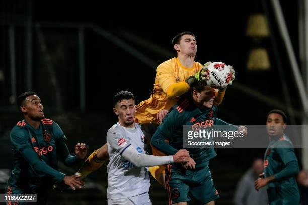 Ryan Gravenberch of Ajax U23, Reda Kharchouch of Telstar, Dominik Kotarski of Ajax U23, Kik Pierie of Ajax U23 during the Dutch Keuken Kampioen...
