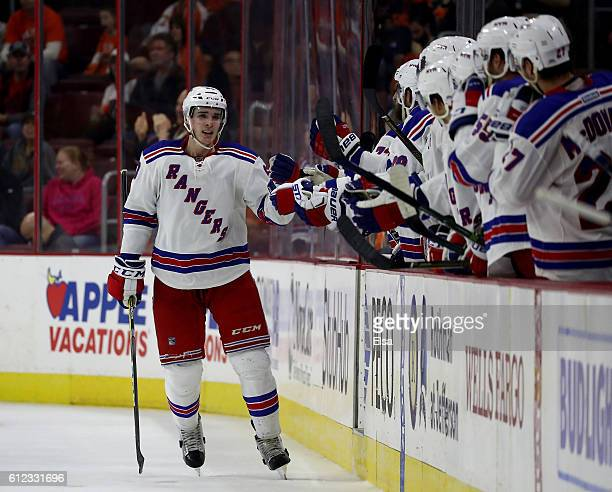 Ryan Graves of the New York Rangers celebrates his goal in the second period against Philadelphia Flyers during a preseason game on October 3 2016 at...