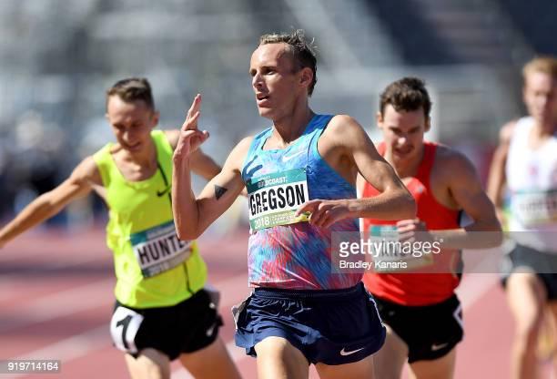 Ryan Gregson celebrates winning the final of the Men's 1500m event during the Australian Athletics Championships Nomination Trials at Carrara Stadium...