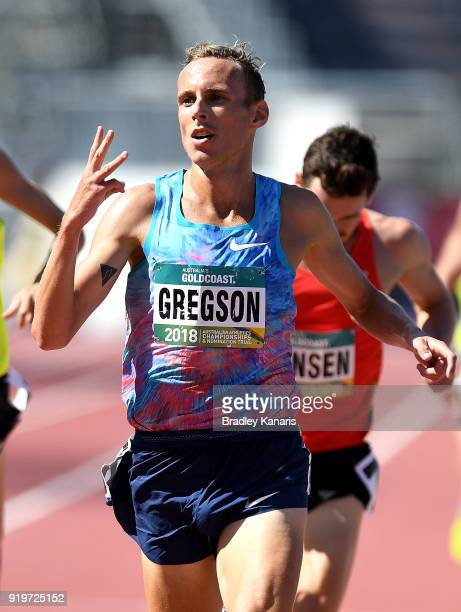 Ryan Gregson celebrates winning the final of the Men's 1500m event during the Australian Athletics Championships Nomination Trials at Carrara Stadium...