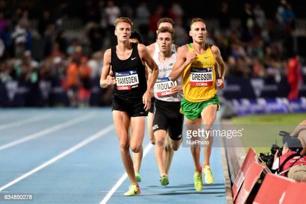 Ryan Gregson of Australia alongside Matthew Ramsden of the Bolt All Stars during the Men's 1 mile elimination race at Nitro Athletics at Lakeside...