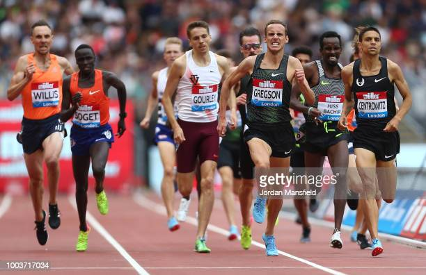 Ryan Gregson of Australia and Matthew Centrowitz of The United States compete in the Men's 1500m during Day Two of the Muller Anniversary Games at...
