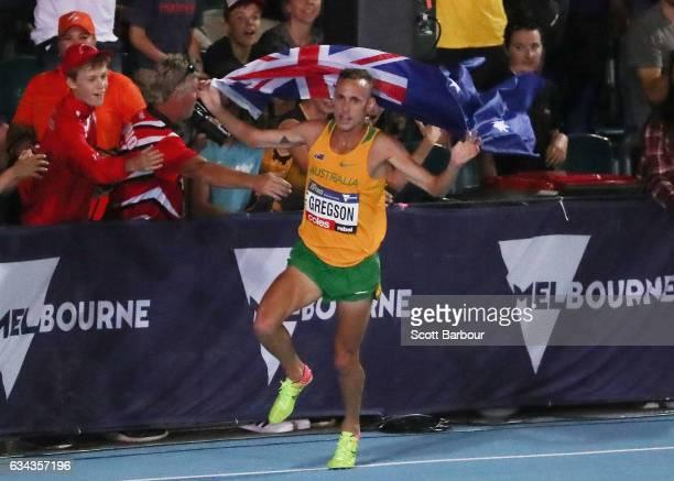 Ryan Gregson of Australia celebrates after winning the Men 1 Mile Run Elimination during the 2017 Nitro Athletics Series at Lakeside Stadium on...