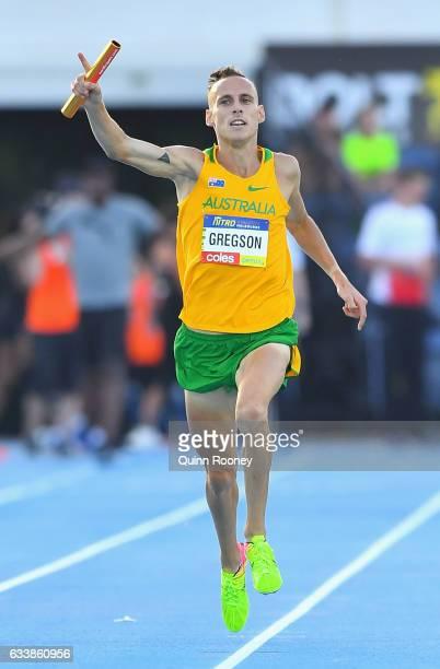 Ryan Gregson of Australia celebrates winning the Mixed Medley Relay during Nitro Athletics at Lakeside Stadium on February 4 2017 in Melbourne...