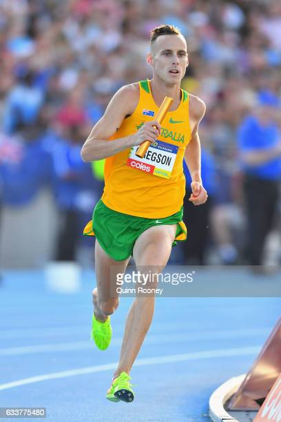 Ryan Gregson of Australia competes in the Mixed Medley Relay during Nitro Athletics at Lakeside Stadium on February 4 2017 in Melbourne Australia