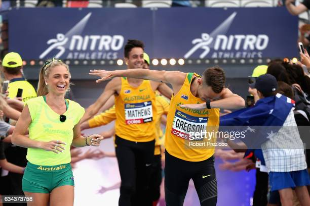 Ryan Gregson of Australia gestures as he leads his team out during the 2017 Nitro Athletics Series at Lakeside Stadium on February 9 2017 in...
