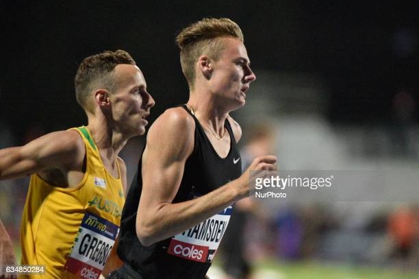 Ryan Gregson of Australia trails Matthew Ramsden of the Bolt All Stars during the Men's 1 mile elimination race at Nitro Athletics at Lakeside...