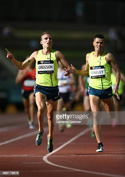 Ryan Gregson of New South Wales celebrates winning the mens 1500m during the Sydney Track Classic at Sydney Olympic Park on March 14 2015 in Sydney...