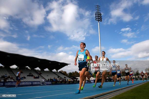 Ryan Gregson of NSW leads the mens 1500 heat during the 92nd Australian Athletics Championships at Olympic Park on April 3 2014 in Melbourne Australia