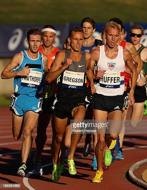 Ryan Gregson of NSWIS and Craig Huffer of VIC compete in Men 1500m Open Preliminary during day two of the Australian Athletics Championships at...