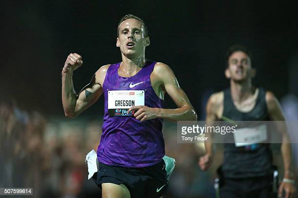 Ryan Gregson of Victoria wins the mens 3000 metres during the 2016 Hunter Track Classic on January 30 2016 in Newcastle Australia