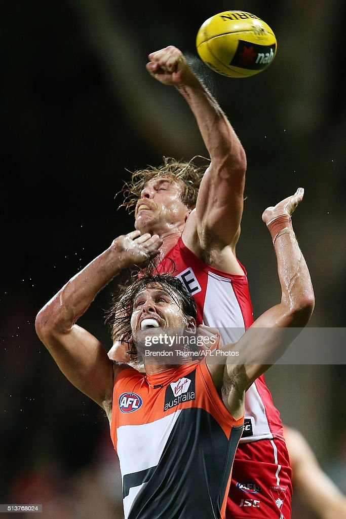 Ryan Griffen of the Giants competes with Dane Rampe of the Swans during the 2016 AFL NAB Challenge match between the Sydney Swans and the Greater Western Sydney Giants at Drummoyne Oval on March 4, 2016 in Sydney, Australia.