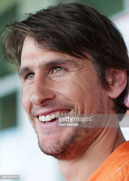 Ryan Griffen smiles as he speaks to media during a Greater Western Sydney Giants AFL media session at Skoda Stadium on October 16, 2014 in Sydney,...