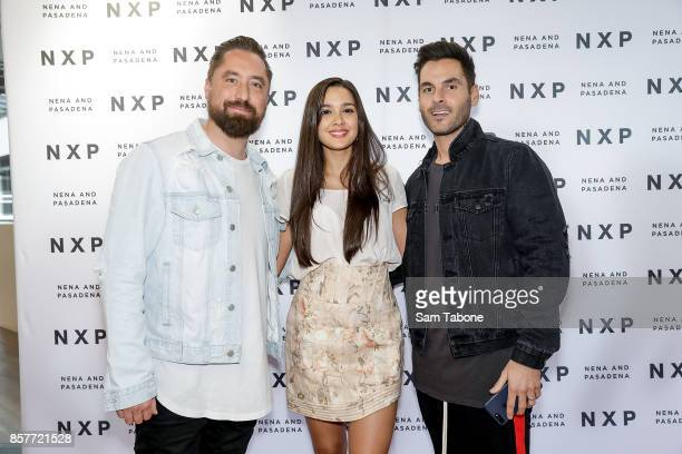 Ryan Griggs Tahan Lew and Paul Edwards arrives for the Nena Pasadena store launch on October 5 2017 in Melbourne Australia