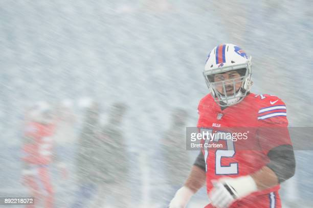 Ryan Groy of the Buffalo Bills participates in warm ups before the game against the Indianapolis Colts at New Era Field on December 10 2017 in...