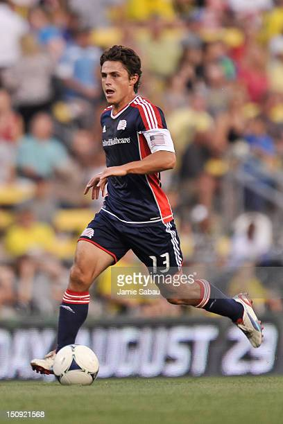 Ryan Guy of the New England Revolution controls the ball against the Columbus Crew on August 25 2012 at Crew Stadium in Columbus Ohio