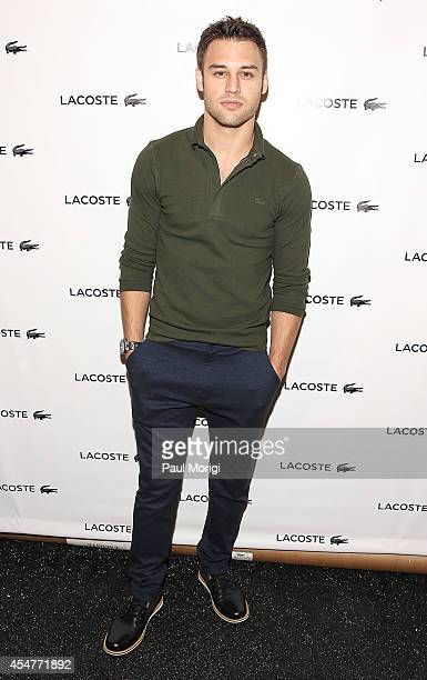 Ryan Guzman poses for a photo backstage at Lacoste during MercedesBenz Fashion Week Spring 2015 at The Theatre at Lincoln Center on September 6 2014...
