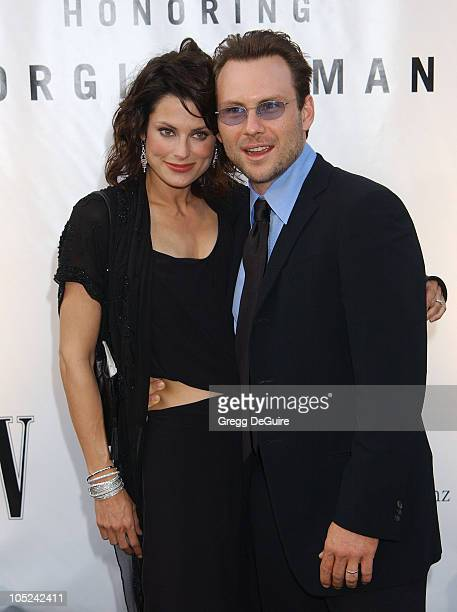 Ryan Haddon and Christian Slater during Giorgio Armani Receives First Rodeo Drive Walk Of Style Award at Rodeo Drive in Beverly Hills California...