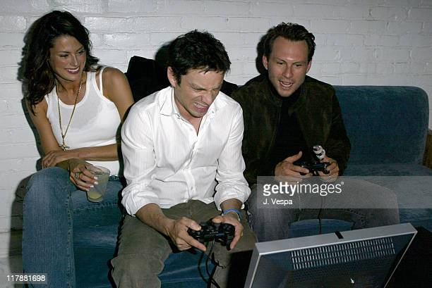 Ryan Haddon Chris Kattan and Christian Slater during PlayStation 2 and Mark Wahlberg Host Celebrity Gaming Tournament for Charity Inside at Club Ivar...