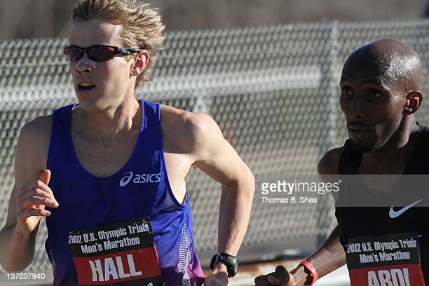 Ryan Hall and Abdi Abdirahman compete in the US Marathon Olympic Trials January 14 2012 in Houston Texas