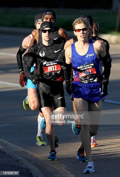 Ryan Hall and Dathan Ritzenhein compete in the US Marathon Olympic Trials January 14 2012 in Houston Texas