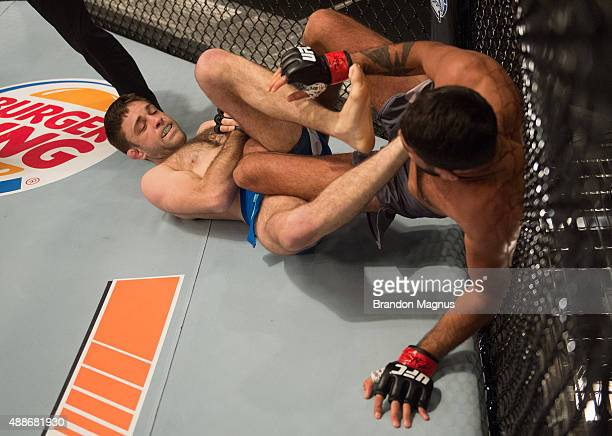 Ryan Hall attempts to submit Frantz Slioa during the filming of The Ultimate Fighter: Team McGregor vs Team Faber at the UFC TUF Gym on July 24, 2015...