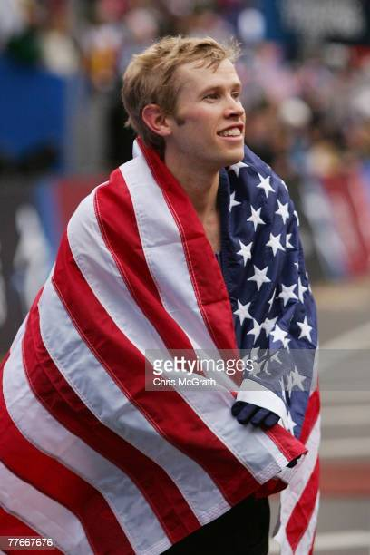 Ryan Hall celebrates after winning the US Olympic Team Trials Men's Marathon held in Central Park November 3 2007 in New York City