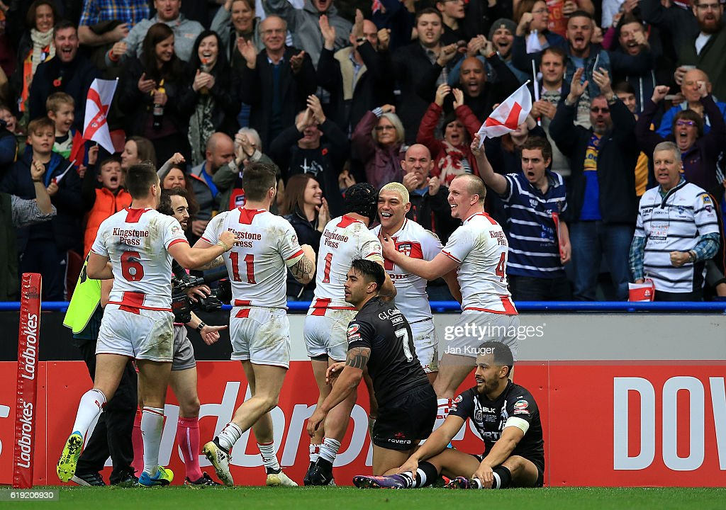 Ryan Hall of England celebrates his try with team mates during the Four Nations match between England and New Zealand Kiwis at John Smith's Stadium on October 29, 2016 in Huddersfield, United Kingdom.