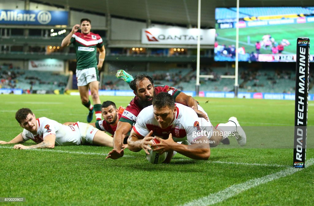 Ryan Hall of England dives to score a try during the 2017 Rugby League World Cup match between England and Lebanon at Allianz Stadium on November 4, 2017 in Sydney, Australia.