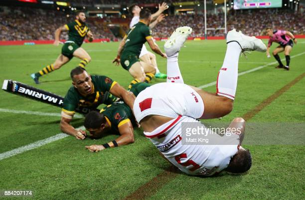 Ryan Hall of England is tackled over the sideline during the 2017 Rugby League World Cup Final between the Australian Kangaroos and England at...