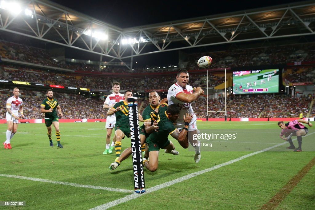 Ryan Hall of England is tackled over the sideline during the 2017 Rugby League World Cup Final between the Australian Kangaroos and England at Suncorp Stadium on December 2, 2017 in Brisbane, Australia.