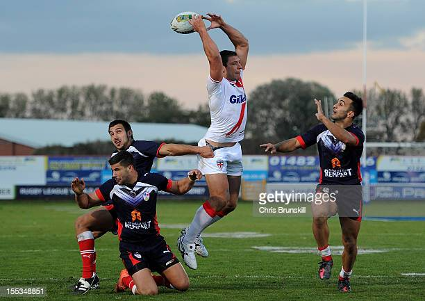 Ryan Hall of England jumps for a high ball during the Autumn International Series match between England and France at Craven Park on November 3 2012...
