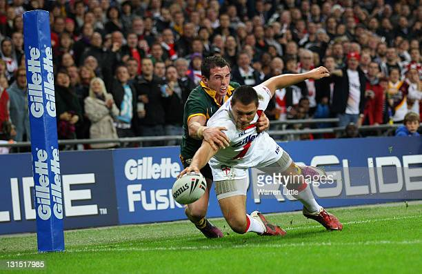 Ryan Hall of England scores a try during the Four Nations match between England and Australia at Wembley Stadium on November 5 2011 in London United...