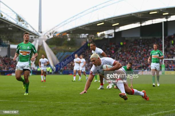 Ryan Hall of England scores his second try during the Rugby League World Cup Group A match between England and Ireland at the John Smith's Stadium on...