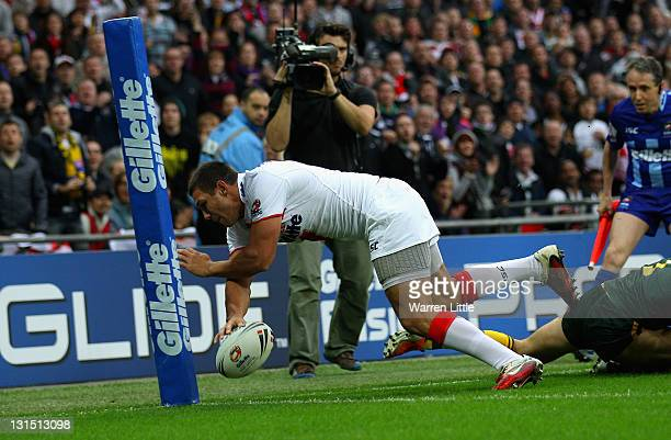 Ryan Hall of England scores the opening try during the Four Nations match between England and Australia at Wembley Stadium on November 5 2011 in...