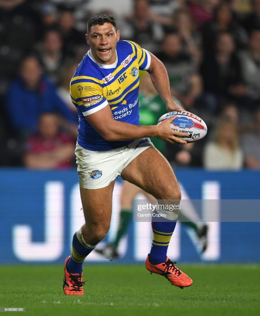 Ryan Hall of Leeds Rhinos during the BetFred Super League match between Hull FC and Leeds Rhinos at KCOM Stadium on April 19, 2018 in Hull, England.