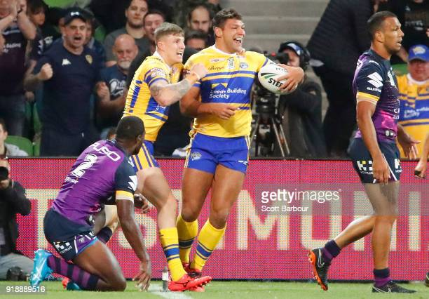 Ryan Hall of Leeds Rhinos is congratulated by his teammates after scoring a try during the World Club Challenge match between the Melbourne Storm and...