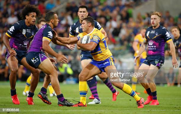 Ryan Hall of Leeds Rhinos is tackled during the World Club Challenge match between the Melbourne Storm and the Leeds Rhinos at AAMI Park on February...