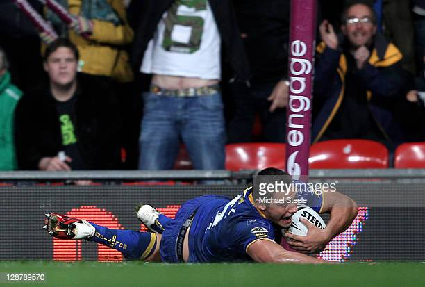 Ryan Hall of Leeds Rhinos scores a try during the Engage Super League Grand Final match between St Helens and Leeds Rhinos at Old Trafford on October...