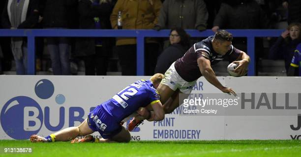 Ryan Hall of Leeds scores a second half try during the Betfred Super League match between Warrington Wolves and Leeds Rhinos on February 1 2018 in...