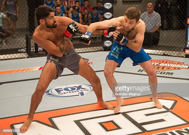 Ryan Hall punches Frantz Slioa during the filming of The Ultimate Fighter: Team McGregor vs Team Faber at the UFC TUF Gym on July 24, 2015 in Las...