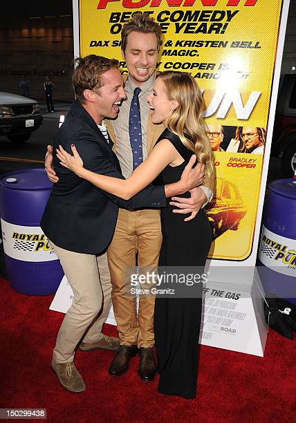 Ryan Hansen Dax Shepard and Kristen Bell arrives at the Hit Run Los Angeles Premiere on August 14 2012 in Los Angeles California