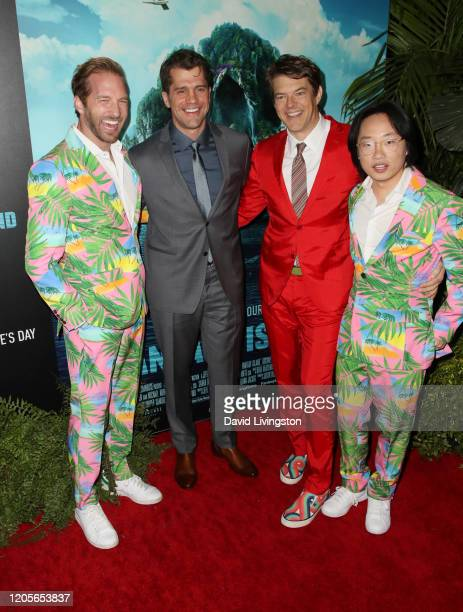 Ryan Hansen Jeff Wadlow Jason Blum and Jimmy O Yang attend the premiere of Columbia Pictures' Blumhouse's Fantasy Island at AMC Century City 15 on...