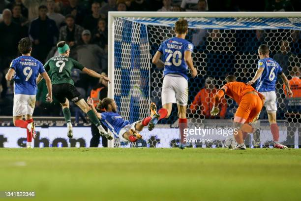 Ryan Hardie of Plymouth Argyle scores a goal to make it 2-1 during the Sky Bet League One match between Portsmouth and Plymouth Argyle at Fratton...