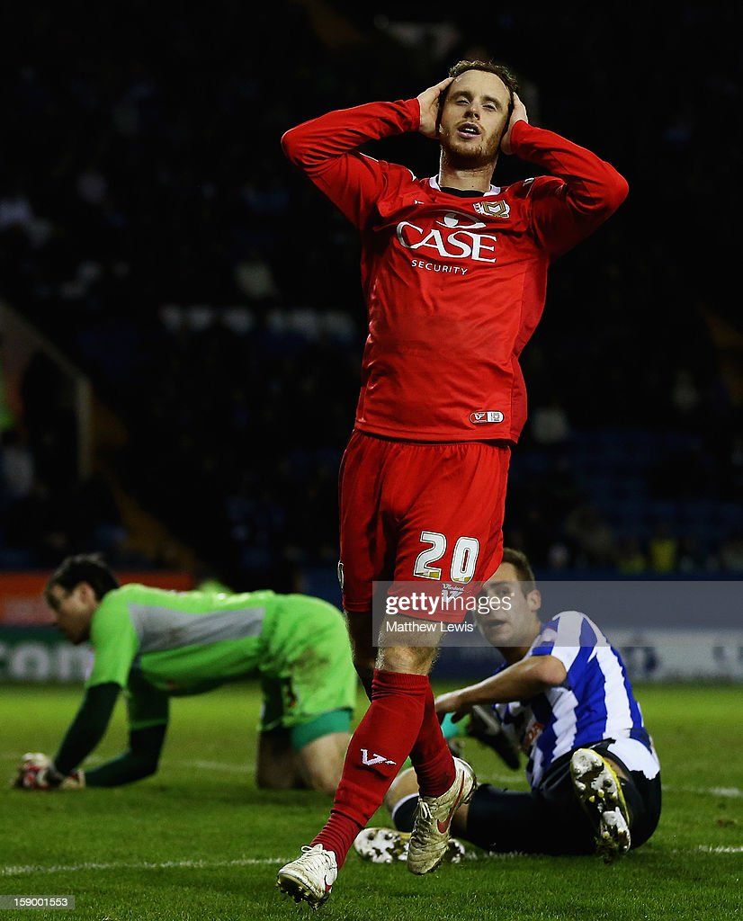 Ryan Harley of Milton Keynes shows his disappointment, after missing a chance on goal during the FA Cup with Budweiser Third Round match between Sheffield Wednesday and Milton Keynes Dons at Hillsborough Stadium on January 5, 2013 in Sheffield, England.