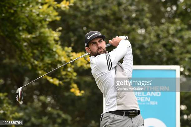 Ryan Harmer hits his drive off the 10th tee during day two of the Northern Ireland Open at Galgorm Spa & Golf Resort on September 4, 2020 in...