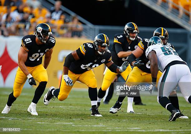 Ryan Harris and Jesse James of the Pittsburgh Steelers in action during the game against the Philadelphia Eagles on August 18 2016 at Heinz Field in...